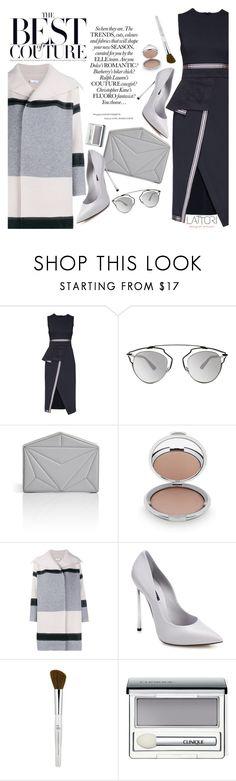"""Lattori dress:Be elegant"" by pokadoll ❤ liked on Polyvore featuring Lattori, Christian Dior, Vionnet, Chantecaille, Vince, Casadei, Clinique, dress, dresses and lattori"