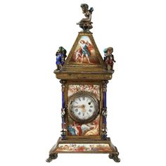 For Sale on - Viennese enamel and silver clock, century. Small silver and multicolored enamel clock. It is richly decorated with mythological scenes, people in White Enamel, Silver Enamel, Gothic, Mantel Clocks, Modern Clock, Grandfather Clock, Desk Clock, Empire Style, Modern Table