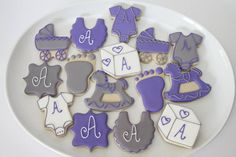 Purple and Grey Baby Shower cookies by The Pink Mixing Bowl!