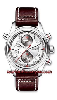 IW371802 - The IWC Pilot's Watch Spitfire Double Chronograph watch features a stainless steel case, a two-tone silvery dial with red accents, and a buffalo leather strap with a steel buckle. The IWC Pilot's Watch Spitfire Double Chronograph watch utilizes a selfwinding movement with a split-seconds chronograph complication and a display for the day and date. - See more at: http://www.worldofluxuryus.com/watches/IWC/Discontinued-Models/371.802/185_789_965.php#sthash.9rDYMlZ7.dpuf