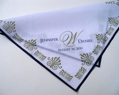 Personalized wedding handkerchief, Art Deco style Great Gatsby wedding