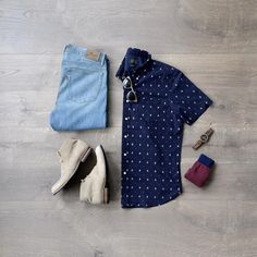 Men's Spring Fashion, short sleeve button down, light denim, sun glasses and chukka boots! #springstyle #denim #sunglasses #mensfashion