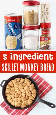 Monkey Bread with Canned Biscuits Easy Recipe! Monkey Bread with Canned Biscuits Easy Recipe! Monkey Bread with Canned Biscuits Easy Recipe! This Skillet Monkey Bread Recipe is such a Tasty Cast Iron Breakfast - perfect for holidays or weekend brunch! New Year's Desserts, Delicious Desserts, Dessert Recipes, Yummy Food, Breakfast Recipes, Quick Dessert, Mexican Breakfast, Breakfast Sandwiches, Breakfast Pizza