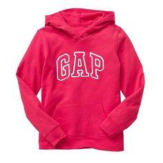 Gap Women Arch Logo Hoodie ($20) ❤ liked on Polyvore featuring tops, hoodies, long sleeve hoodie, hooded pullover, embroidered hoodies, neon hoodie and pink hoodies