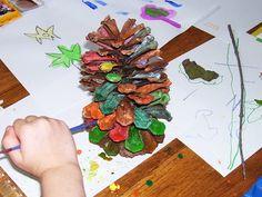 sara's art* house: watercolors on pine cones
