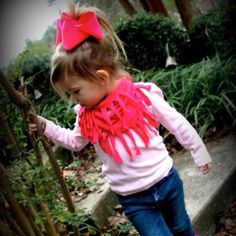 Made the DIY tshirt scarf out of shirts Bryleigh outgrew! Great way to repurpose toddler clothing and so stylish!