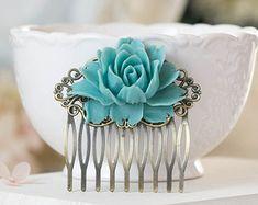 Boda algo azul pelo peine flores marfil azul oscuro por LeChaim