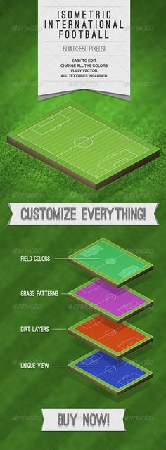 The Isometric International Football Photoshop File is a smart object built system which allows you to create unique and eye-catch