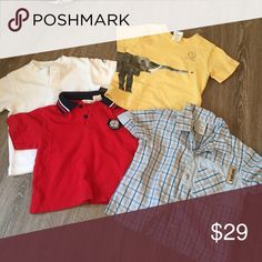 4 Tops 18-24 mo Gently used, washed, clean, pet & smoke free home!  3 tops are 24mo. 1 is 18-24 mo Shirts & Tops