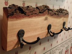 Natural Rustic Shelf with Bark and Coat Hooks. $25.00, via Etsy.