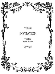 invitation vector rose vines with thorns