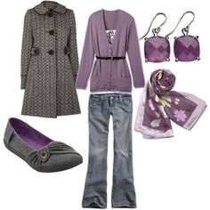 LOOK - jeans w purple cardi, purple floral scarf, amethyst inspired jewelry, gray flannel flat, black/whitecoat at dorothyperkins