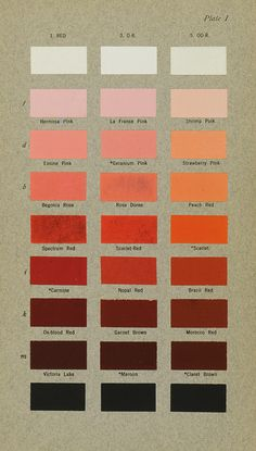 Color plate from Robert Ridgway's 1912 book, Color Standards and Color Nomenclature.  > > > Linda Hall Library lindahall.tumblr.com