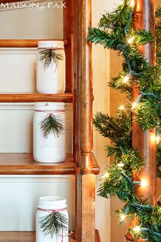 Add some Mason jars to your staircase to add some Christmas cheer to this oft-forgotten spot.