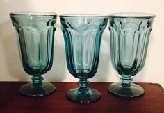 Set of 3 Vintage Teal Wine Glass Goblets by VintageAnneTiques, $12.99