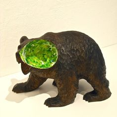 Sphere-Bear by Satoshi Uchiumi, Wood and oil paint, 170x220x120mm