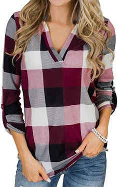 Quality In Reasonable My Stylish 2016 Hot Sale 1pcs Womens Long Sleeve Round Neck Checked Loose Shirt Blouse Tops Good-looking Oct 31 Superior