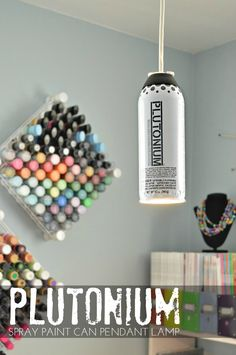 Plutonium™ Spray Paint Can Pendant Lamp by @madincrafts ---> #DIY #Crafty #SprayPaint #Lamp #Decor