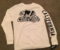 Tony Hawk California Cali Life Bear White Black LA Mens Long Sleeve TShirt NEW ! #TonyHawk #GraphicTee