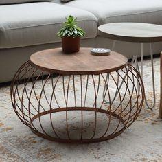 Beistelltisch Couchtisch BRUNO Ø 70 cm Metallkorb Anstelltisch Kaffeetisch Holz