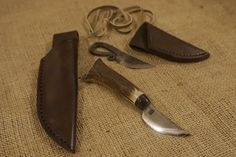 The leather sheaths Ross made with Mark's tuition to go with his hand forged knives he made. We love the results.