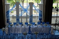 Cornflower Blue Wedding Centerpieces   The couple also had a wonderful candy buffet filled with tasty ...