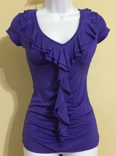 Candie's Women's Purple V Neck Ruffle Front Blouse W/ Built In Bra Size XS NWT #Candies #Blouse #Casual
