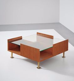 Gio Ponti; Unique Mahogany, Glass and Brass Coffee Table, 1960s.