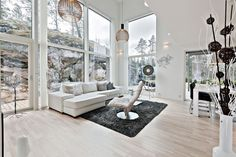 That rock is a part of the livingroom almost as a picture. Wooden House, Cabin Plans, Open Kitchen, House 2, Architecture Design, Room Ideas, New Homes, Design Ideas, House Design