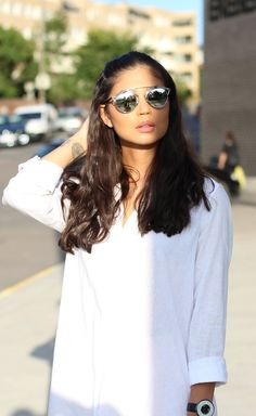 Dior so real sunglasses. Shirtdress from H&M. Dior So Real Sunglasses, Sunglasses Women, Giorgio Armani Watches, Shirtdress, My Outfit, Long Hair Styles, Outfits, Beauty, Fashion