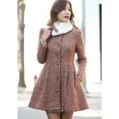 Fur Collar Double-sided Buttons Big Hem Slim Women's Woolen Coat
