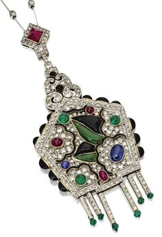 An Art Deco coloured stone and diamond pendant, Circa 1930. Old European-cut and single-cut diamonds weighing a total of approximately 5.00 carats, additionally set with cabochon rubies, sapphire, emerald, onyx, jade, and emerald beads, mounted in platinum, length 20 inches.