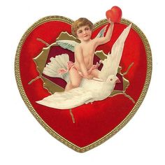 Cupid and Dove Standing Valentine Card ~ England Victorian Valentines, Vintage Valentines, Vintage Cards, Vintage Images, Vintage Labels, Valentine Cupid, Valentine Hearts, Decoupage, Paper Hearts