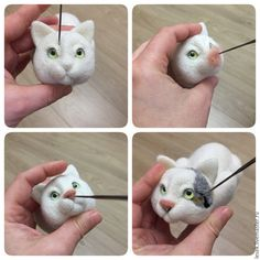 DIY on How to Felt a Kitten – a free tutorial on the topic: Dry & Needle Felting ✓DIY ✓Steps-By-Step ✓With photos Needle Felted Cat, Needle Felted Animals, Felt Animals, Needle Felting Tutorials, Felt Cat, Felt Brooch, Nuno Felting, Felt Toys, Soft Sculpture