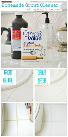 Homemade Grout Cleaner- Getting down on all fours to scrub out your tub while breathing in toxic fumes is not fun. As one can imagine, inhaling these chemicals is not good for your lungs. Make your own homemade grout cleaner mixing up a ratio of 1/2 cup of baking soda, 1/4 cup hydrogen peroxide, and 1 teaspoon of liquid dish soap. Shake it all.