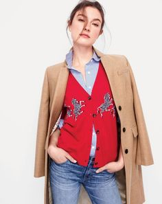 Crew women's Regent topcoat in heather acorn, lightweight cardigan in zebra print and matchstick jean in Stockdale wash. J Crew Style, My Style, J Crew Catalog, Red Cardigan Sweater, J Crew Outfits, Preppy Girl, Spring, Winter Fashion, Fall Fashions