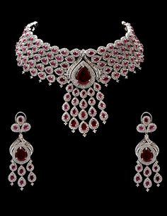 American diamond set in rhodium plating with ruby stones