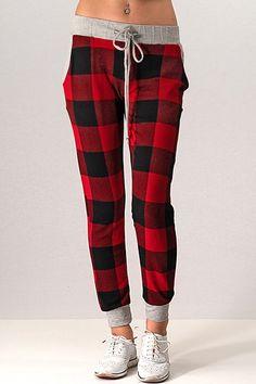 Sweater Knit Plaid Pattern Pocket Side Pants Lounge Pants, Womens Fashion  Online, Plaid Pattern 6c6d20ff36
