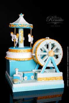Baby Shower Carousel Cake by Renata Unique Cakes, Creative Cakes, Cupcakes, Cupcake Cakes, Beautiful Cakes, Amazing Cakes, Carousel Cake, Fancy Cakes, Love Cake