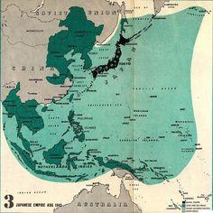 Japanese Empire. 1942. 戦争に負ける前の日本の範囲