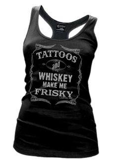 Amazon.com: Womens Cartel Ink Tattoos and Whiskey Make Me Frisky Racer Back Tank Black Shirt: Clothing