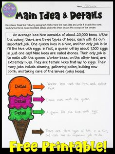 Learning about main idea and supporting details is FUN when you use the ice cream cone analogy! This blog post contains a main idea anchor chart activity and a FREE main idea worksheet. Everything you need for one main idea lesson is available here. Reading Lessons, Reading Strategies, Comprehension Strategies, Guided Reading, Reading Comprehension, Close Reading, Reading Skills, Teaching Main Idea, Teaching Ideas