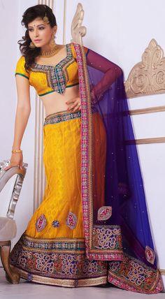 Divine Gold Brocade and Net Lehenga Choli With Dupatta - IG6605 USD $ 79.42