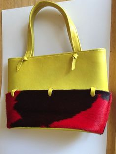 Yellow Leather Red Brown Pony Hair Handbag | eBay