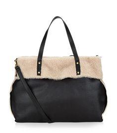 Black Shearling Lined Shopper Bag