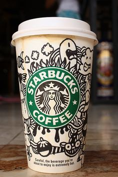 yeah get the barista's Sharpie and start doodling your cup Arte Starbucks, Starbucks Cup Drawing, Starbucks Cup Design, Starbucks Crafts, Copo Starbucks, Starbucks Logo, Starbucks Drinks, Starbucks Coffee, Coffee Cup Art