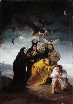 "One of the fourteen Witches' Sabbath Murals 1798 ""Aquelarre"", Francisco Goya Spanish Painters, Spanish Artists, Art Noir, Arte Horror, Henri Matisse, Dark Art, Art History, Prado, Illustration Art"