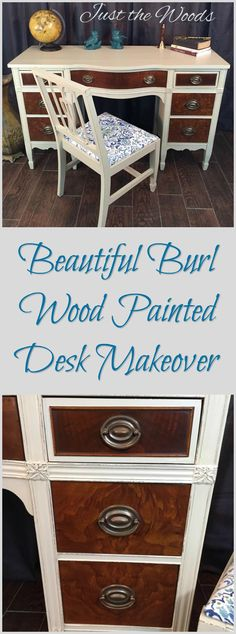 Beautiful Burl Wood Painted Desk Makeover by Just the Woods. Get this neutral creamy vanilla paint color with bisque - https://just-the-woods.myshopify.com/products/bisque