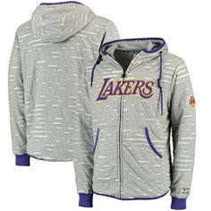 Los Angeles Lakers Zipway Ripped and Repaired Full-Zip Hoodie - Gray - $67.99