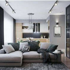 Фотография Studio Apartment Design, Small Apartment Interior, Home Room Design, Home Living Room, Interior Design Living Room, Living Room Designs, Living Room Decor, House Design, Bedroom False Ceiling Design
